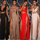 US Women Sexy Sleeveless Crop Top + Skirt Set Split Deep V Two Piece Maxi Dress