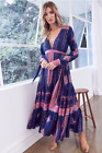 NWT NEW! LF Jaase Essie Boho Gypsy Floral Print Maxi Dress Navy Pink Small S