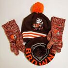 Mitchell & Ness Cleveland Browns Throwback Beanie & Gloves Lot