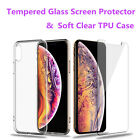 For iPhone 11 Pro Max 11 Pro X 7 Tempered Glass Screen Protector+Soft Clear Case