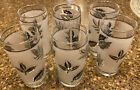 Six (6) Small Vintage Libbey(?) Frosted Barware Glasses with Silver Leaf Motif