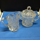 EAPG Whirling Star Tall Pressed Clear Glass Cream and Covered Sugar Bowl