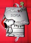 Snoopy and Woodstock Hallmark Pewter Ornament Peanuts Personalized SOFIA New
