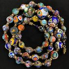 Vtg Murano Millefiori Venetian Art Glass Bead Graduated Aventurine Necklace Bras