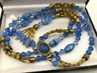 DREAMY VINTAGE BLUE SUNNY SKY GLASS BEADS DECO CLASP LNG NECKLACE FLAPPER TASSEL