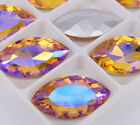 100pcs Navette Glass Rhinestone Yellow AB Faceted Strass crystal Jewels stones