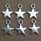 10 pieces New TINY SOLID SILVER STAR Charm Metal Alloy 13 x 10 mm FREE SHIPPING