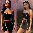 USA Women 2 Piece Set Dresses Bodycon Skirt Outfit Crop Top Mini Summer Dress