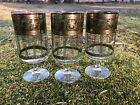 3 Cera Golden Grapes Green Water Goblets Gold  Mid Century Signed Stemware