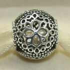 New Authentic Pandora Charm Openwork Flower 797853 Bead W Tag  Suede Pouch