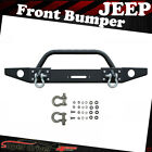 Fits 2007 2018 Jeep Wrangler JK Textured Front Bumper W D Ring Winch Plate