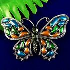 Carved Tibetan Silver Inlay Pave Crystal Butterfly Pendant Bead Brooch SH793