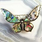 Carved Tibetan Silver Abalone Shell Butterfly Breastpin Pendant Bead SH751