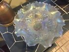1910 Dugan DOUBLE STEM ROSE Stunning White Carnival Glass 9 Dome Foot Plate