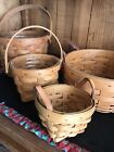 Longaberger Basket Lot Of 4 Round 4.5