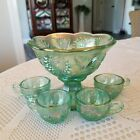 FENTON ART GLASS MINIATURE HOBSTAR  FEATHER PUNCH BOWL WITH 4 CUPS  4 HOOKS