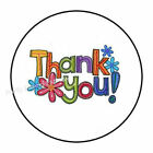 48 COLORFUL THANK YOU ENVELOPE SEALS LABELS STICKERS 12 ROUND