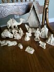 15 Piece CHRISTMAS MANGER Nativity Scene CHARACTERS Real Carved 1971 signed FS