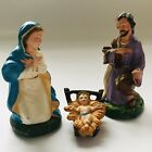 Vintage Hand Painted Nativity Figures Italy Set 3 Joseph Mary Jesus Paper Mache