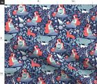 Woodland Nature Birth Pregnancy Pattern Cats Fabric Printed by Spoonflower BTY