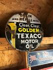 "Original Porcelain Texaco 15"" Circular Sign Gas Oil Collectable Man Cave"