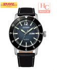 New Citizen Eco Drive AW0077-19L Black Leather Strap Blue Dial Analog Mens Watch