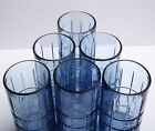 Lot of 6 ANCHOR HOCKING BLUE TARTAN Ice Tea Water 6 1/8
