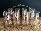8 COWBOY Boot Drinking Glasses Western Tumbler Set Carrier Retro Mid Century Vtg