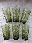 Anchor Hocking Tumblers Lido Milano Green Crinkle Wave Set Of 6 Retro Groovy VTG