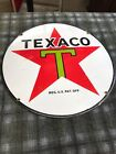 Original 15 Inch Heavy 3Lb Vintage 1933 TEXACO PORCELAIN Sighn Gas Oil 1/8Thick!