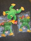 TY Beanie Baby SMOOCHY The Frog & 2 SMOOCHY  McDonald's Frogs MWMTs