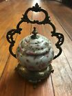 PORCELAIN BISCUIT JAR WITH ORNATE BRONZE HANDLE
