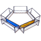 Lot of 5 x Handmade Stained Glass Metal Business Card Holders Clean New in Box