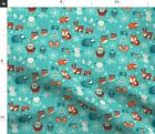 Winter Woodland Owls Bears Nativity Christmas Fabric Printed by Spoonflower BTY