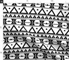 Black And White Tribal Native Triangles Plus Fabric Printed by Spoonflower BTY