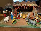 ITALIAN COMPLETE 12 PIECE VINTAGE NATIVITY SET WITH WEST GERMANY STABLE 1960