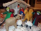 Vintage Nativity Set Wool Felt Very well made 12 Pcs + Barn Stunning