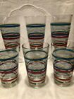 6 FIESTA Multi-Striped Tall Tumblers/Drinking Glasses-16 Oz -Excellent condition