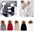 Women Baby Warm Winter Knit Crochet Wool Beanie Cap Fur Pom Bobble Slouchy Hat