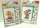 Vtg SUZYS ZOO Friends  Flowers 2 Counted Cross Stitch Kits NEW Janlynn Frames