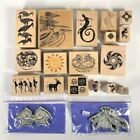 Wood Mounted Cling Rubber Stamp Lot of 19 Aztec African Native tribal