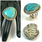 Large Triple Band Native American Sterling Silver Light Blue TRQ Ring Size 12