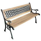 Metal and Wood Bench Garden Seat Furniture Lawn Porch Outdoor Pool Side