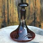 Antique Ruby Red Czech Bohemian Crystal Cut to Clear Glass Ships Decanter