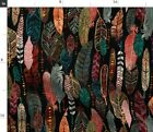 Tribal Native American Feathers Earth Tones Fabric Printed by Spoonflower BTY