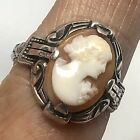 Uncas Ring Deco Carved Shell Cameo Sterling Silver Sz 8 VTG Antique Arrow U