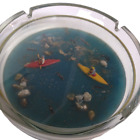 French Creation Drouillot Glass Ashtray Kayakers 7 Inch Made in France
