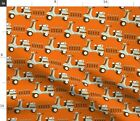 Retro Orange Scooter Illustration Moped Burnt Fabric Printed by Spoonflower BTY