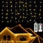 Christmas Curtain String Fairy Lights Outdoor Warm White Battery
