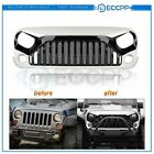 Grille fit for 2007 2018 Jeep Wrangler JK JKU ABS Matte BlackWhite Front